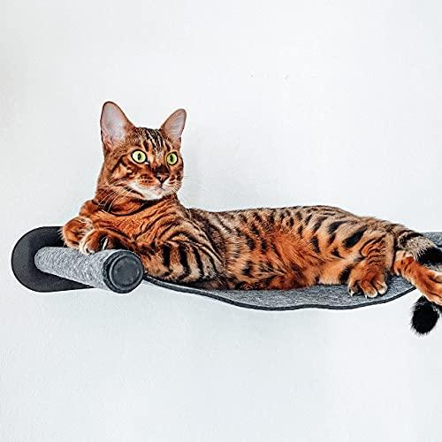 CanadianCat Company ®   Katzenhängematte aus Filz mit Wandmontage   ca. 65 x 35 x 10 cm   Anthrazit   Kletterwand Liegemulde Wandliege Katzenbett aus Filz