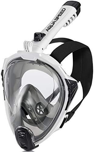 Aqua Speed Full Face Tauchermaske Erwachsene I Schnorchelmaske Tauchmaske mit Schnorchel I Maske mit Kamerahalterung + Mikrofaser Handtuch I Gr. S-M, 13.Schwarz/Weiß I Drift