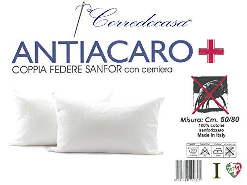 Euroricami Viterbo Coppia Federe Fasciate Antiacaro Cerniera Puro Cotone Bianco, 50x80 cm