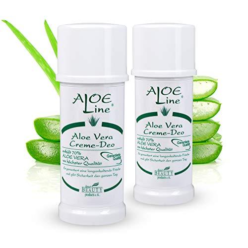 Aloe Vera Creme Deo - Antitranspirant - enthält 70% Bio Aloe Vera & Allantoin - Schutz & Pflege für die Haut - Damen & Herren Deo - langanhaltende Frische - VEGAN / 2er Pack (2 x 40 ml)