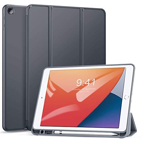 ZtotopHülle Hülle für iPad 10.2 2019 & iPad 10.2 2020,Superdünne Soft TPU Rückseite Abdeckung Schutzhülle mit eingebautem iPad Stifthalter,Auto Schlaf/Aufwach,für iPad 7/8 Generation,Grau