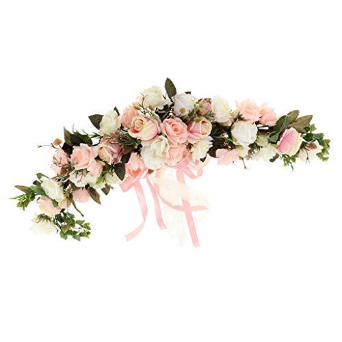 joyMerit Ghirlanda di Fiori Shabby Chic Silk Rose Specchio Porta A Parete Anello Trim - Rosa e Bianco, 60 x 15 x 9 cm
