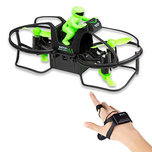 CANOPUS Mini RC Flying Motorcycle, Green, Hand Wrist-Watch Controlled Hover Motorbike, 6-axis Gyroscope with Gravity Sensor & 360° Rotation, 2.4 GHz Remote Control, Drone-Bike for Kids, Teens, Adults