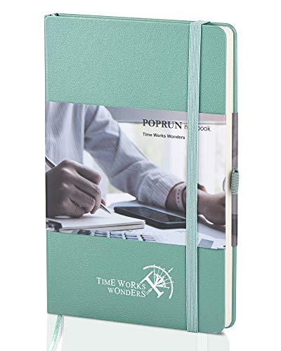 POPRUN Cuaderno Punteado Bullet Journal A5 de Tapa Dura - Libreta Puntos con 3 Índice y 235 Páginas Numeradas, Bucle de Lápiz y Bolsillo, Verde Medianoche