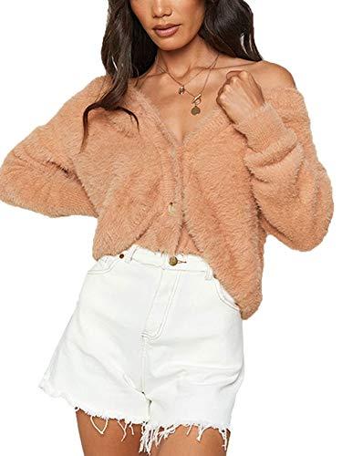 Cárdigan de felpa de manga larga con cuello en V para mujer con botón de cintura alta sólido ColorFashion chaqueta casual