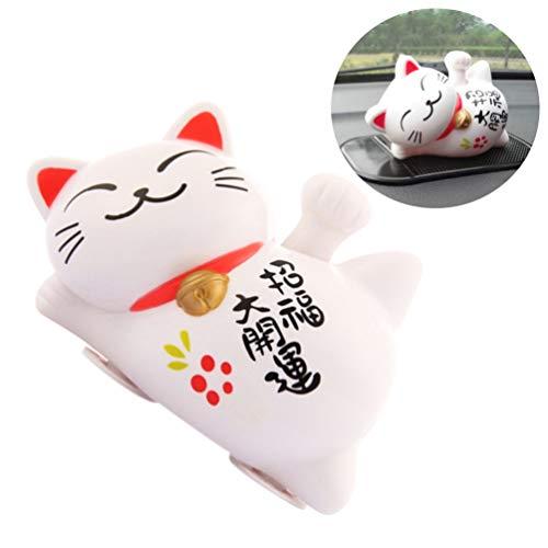 Vosarea Lucky Fortune Cat Waving Arm Solar Lucky Cat Figurine Buena Salud...