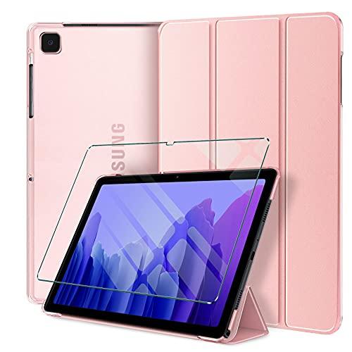 AROYI Custodia Cover per Samsung Galaxy Tab A7 10.4 2020 + Vetro Temperato, Cover Sottile Leggero Tri-Fold Semi Traslucida Smerigliata Case con Auto Sveglia/Sonno Funzione (SMT500/T505/T507)