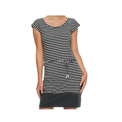 Ragwear Soho Stripes Mujer,Vestido,Vestido de Verano,sin Mangas,Vegano,Escote Redondo,cinturón de Cintura,Black,S