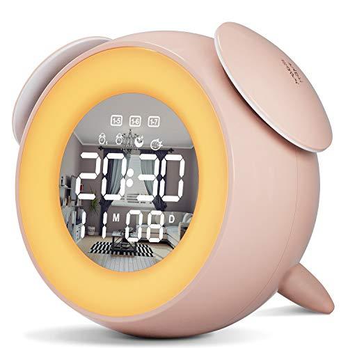 Reloj Despertador Digital, Wake up Light LED Luz Despertador con Función Snooze, Simulación de Amanecer y Atardece, 2 Despertadores, 25 Sonidos de Naturales (Rosa)