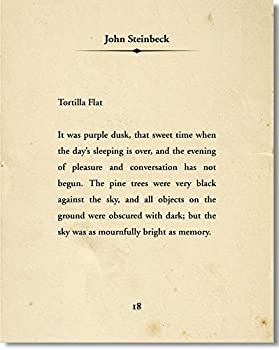 Tortilla Flat by John Steinbeck - Wall Decor Typography Art Print - 24x30-inch unframed Poster - Great Gift for Book and Literary Fans