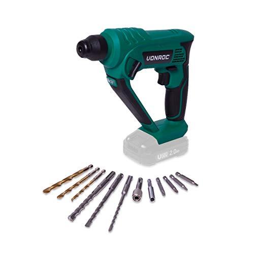 VONROC Akku-Bohrhammer – VPower 20V – Exkl. Akku und Ladegerät – 1,3 Joule –SDS-plus – Inkl. Zubehör und Werkzeugtasche