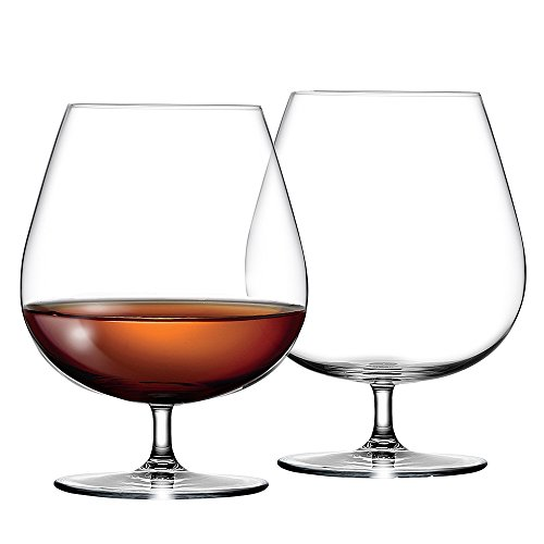 Large CRYSTAL Cognac Glasses - Hi Quality Cognac Balloon Glass Set of 2 - Perfect for Brandy, Whisky, Baileys