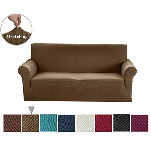 Argstar Jacquard Sofa Slipcover, Light Brown Stretch Couch Slip Cover, Spandex Furniture Protector for 3 Cushion Seater, Sofa Cover for Living Room, Machine Washable
