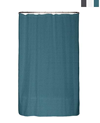 arteneur® - Premium Duschvorhang 120x180 inkl. Ringe – Anti-Schimmel Struktur-Stoff, Blickdicht, Wasserdicht, Waschbar und inkl. E-Book (Petrol Blau)