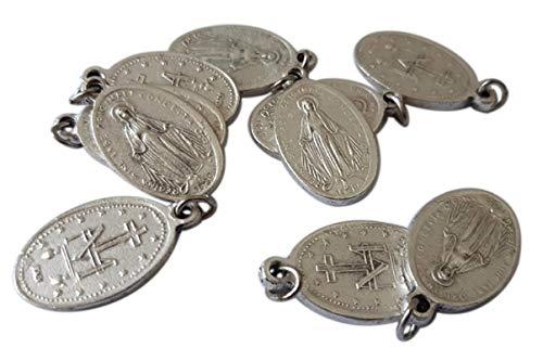 Eurofusioni Medalla Milagrosa Regina Sine Labe Originali Concepta - H 2,2 cm - 10 medallas chapeada Plata