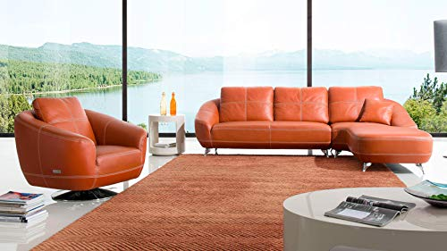 Zuri Furniture Orange Lucy Leather Sectional Sofa- Right Chaise and Chair