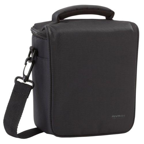 Rivacase RV_7302 camera-fototas/schoudertas met paarse gevoerde binnenvoering voor DSLR spiegelreflex camera's en toebehoren zwart