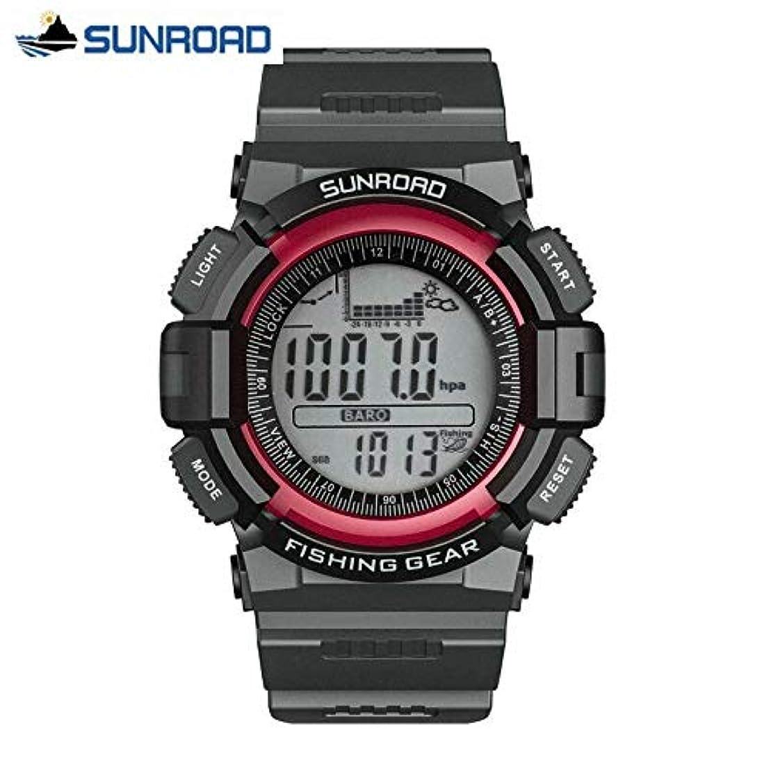 メタルライン組必要ないSUNROAD 5ATM防水釣りバロメーター腕時計高度計温度計カラーレッド