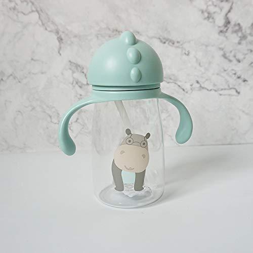 dingtian Botella de beber Niños Niños Dibujos Animados Escuela Animal Agua Paja Copa con Correa de Hombro Botella de Agua Hippo
