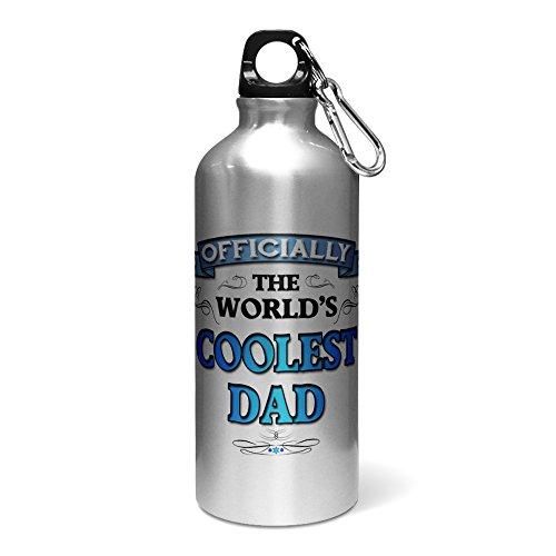 600ml Officiellement The Worlds Cool Papa en aluminium Bouteille d'eau/gourde–Bleu