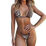 ShSnnwrl Bikini de Moda Sexy Leopard Bikinis Micro Bikini Set Push Up Thong Biquini High Cut Swimwear Women Mini Swimsuit Female Bathing Suit M Yellow