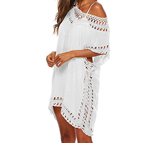 Multitrust Women Perspective Stripe Print Tassel Swimsuit Cover Up Dress Kaftan Bikini Swimwear Cover-Ups (White Cutout)