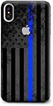 Skin Decal Vinyl Wrap for Apple iPhone Xs Max | Phone Stickers Skins Cover| Thin Blue line American Flag Distressed