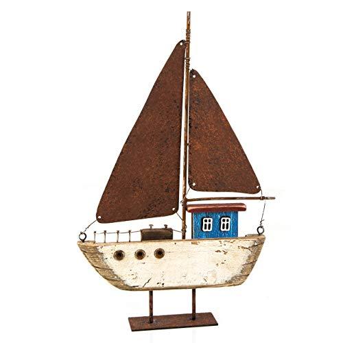 Logbuch-Verlag Mooie zeilboot zeilschip 32 cm houten boot decoratie schip op oud gemaakt blauw bruin van hout en metaal blik maritiem
