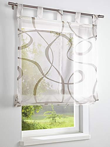 heine home Raffrollo modern geometrisches Muster Schlaufen halbtransparent, Raffrollos:HxB 140/60