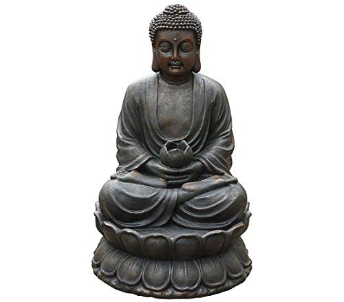 Dehner Gartenbrunnen Buddha mit LED Beleuchtung, ca. 80.5 x 49.5 x 49.5 cm, Polyresin, braun/kupfer