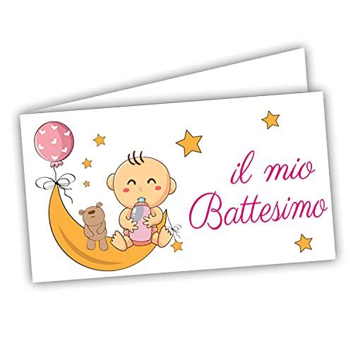Bigliettini Bomboniera Sacchetti Confetti - il mio Battesimo 60 pezzi pretagliati Orsetto- stampa l'interno con link e il foglio di prova per non sbagliare