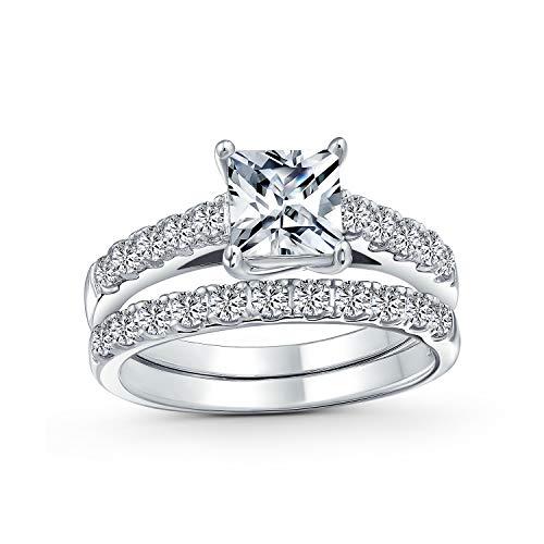 Bling Jewelry 1Ct Zirconio Cúbico Cuadrado Corte Princesa Solitario Pave AAA Compromiso Juego Anillo Bodas Plata Esterlina 925