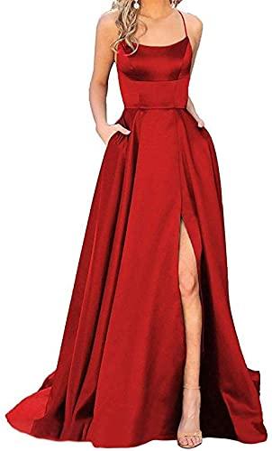 Vestido largo de satén para mujer, vestido formal de noche con bolsillos, para cumpleaños, bailes, bodas, fiestas, regalos de 18 años para adultos, color vino rojo, 16