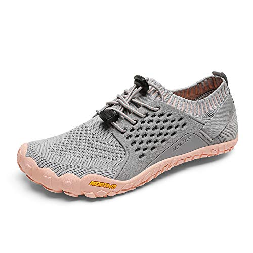 NORTIV 8 Women's Barefoot Water Sports Shoes Outdoor Athletic Pool Swim Hiking Aqua Shoes Light Grey Pink Size 7.5 M US Treklady-2