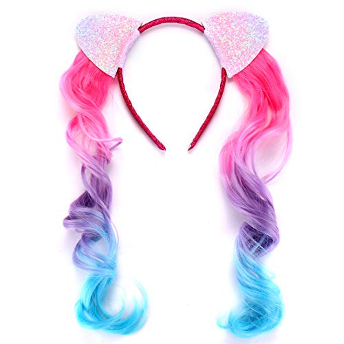 Glitter Cat Ears Headbands for Girls with Colored Ombre Curly Hair Extensions Pigtails Cute Sweet Hair Accessories