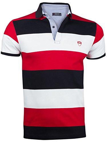 Herren Sommer Polo Hemd T-Shirt Poloshirt GESTREIFT Kurzarm 100% Baumwolle, Größe:XXL, Farbe:Rot