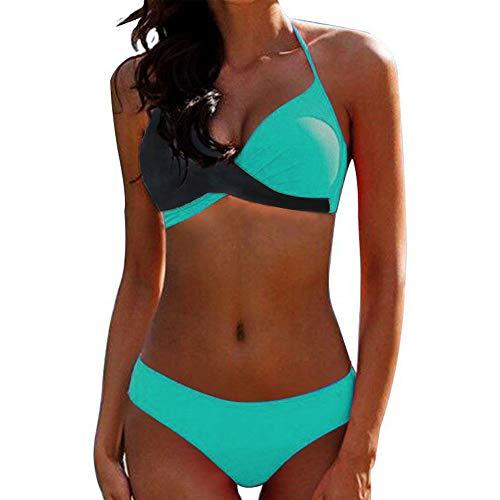 Yczx Damen Zweiteilige Badeanzug Bademode Push Up Bikini Set Strandkleidung Crossover Triangel Strandbikini Oberteil Bikinihose Sexy Neckholder Swimsuit XXL