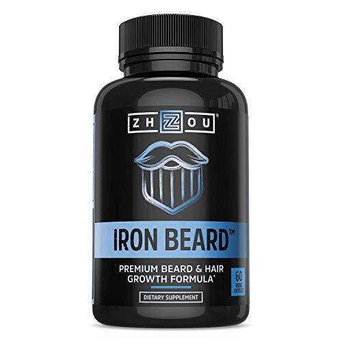 Zhou Nutrition Iron Beard, Beard Growth Vitamin Supplement for Men, 60 Capsules