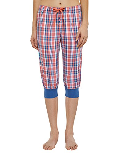 Uncover by Schiesser Damen Woven Pants 3/4 Schlafanzughose, Rot (Koralle 517), 38 (Herstellergröße: M)