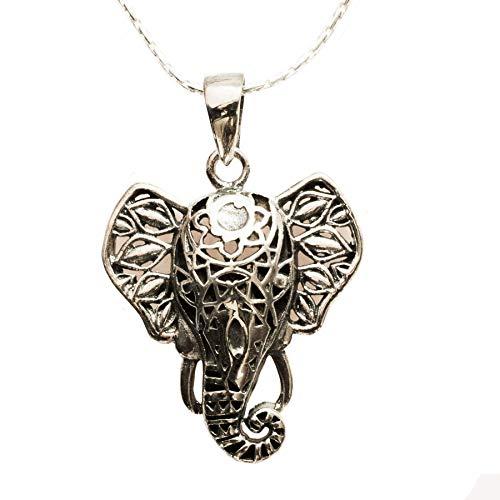 Colgante amuleto Elefante Hindú de la Suerte Plata de Ley 925 con cad
