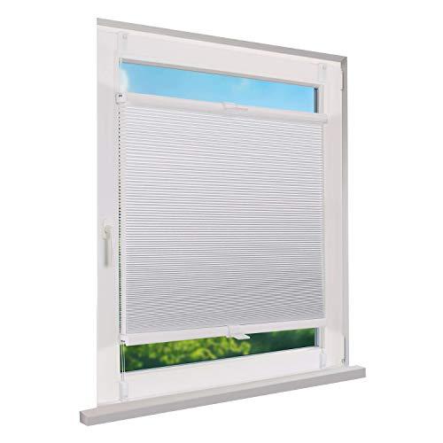 Fensterdecor Klemmfix Waben-Plissee, Doppel-Plissee zum Sichtschutz mit Spannfeder, Honigwaben-Plissee ohne Bohren in Weiß, lichtdurchlässig und Blickdicht, 100 x 130 cm