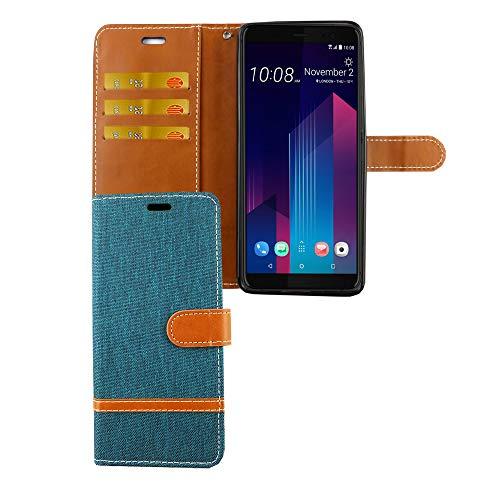 König Design Handy-Hülle Kompatibel mit HTC U12 Plus Schutz-Tasche Hülle Cover Kartenfach Etui Wallet Grün