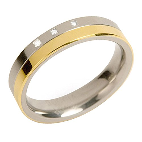 Boccia Damen-Ring teil-goldplattiert Titan 3 Brillanten GR.59 0129-0459