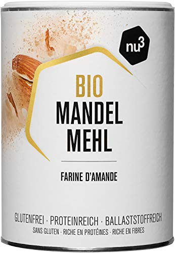 nu3 Harina de Almendras Ecológica – 420 g de almendra española molida – Alternativa para cocinar sin gluten - 51% de proteína – Menos carbohidratos que la fécula de trigo – Rica en fibra dietética