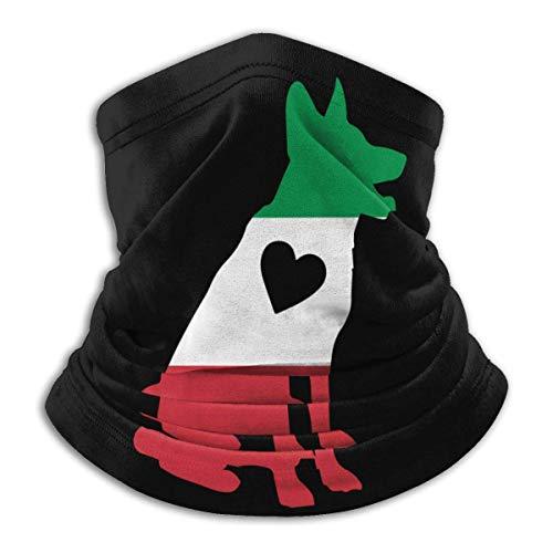 BI HomeDecor Neck Sweatband,Italienische Flagge Deutscher Schäferhund Herz Halswärmer Halsmanschette, Uv-Geschützte Magische Stirnbänder Für Das Radfahren Im Freien