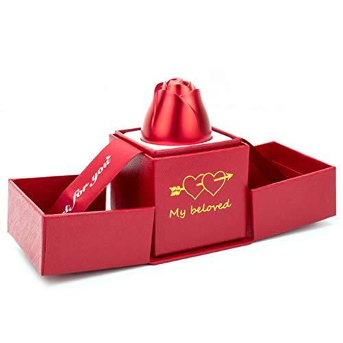 JINQII Caja de joyería para anillos, creativa caja de regalo de metal 3D, caja de regalo de boda, caja de regalo
