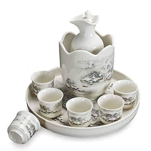 n.g. Wohnzimmer-Accessoires Teekannen 9-teiliges Sake-Set Japanisches Keramik-Weingläser-Set mit Stövchen und Tablett Traditionelle Porzellan-Keramik-Tassen Familie und Freunde