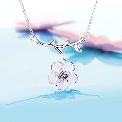 QiuYueShangMao Colgante de Collar Collar con Dije para Mujer, joyería Sakura, Flores de Cerezo, Cadena de clavícula, Regalo para Mujeres, Fiestas, Citas Día de San Valentín, cumpleaños