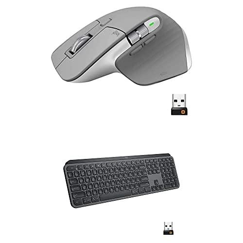 Logitech MX Keys Advanced Wireless Illuminated Keyboard - Graphite Bundle with Logitech...