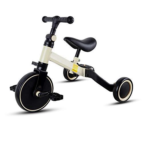 Kinder Dreirad, 3 In 1 Trike Leicht Klappbares Verstellbares Sitz Balance-Training, Kleinkind-Dreirad 3-Räder-Balance-Kinderfahrrad Für Jungen Und Mädchen Im Alter Von 1-6 Jahren (Weiß)